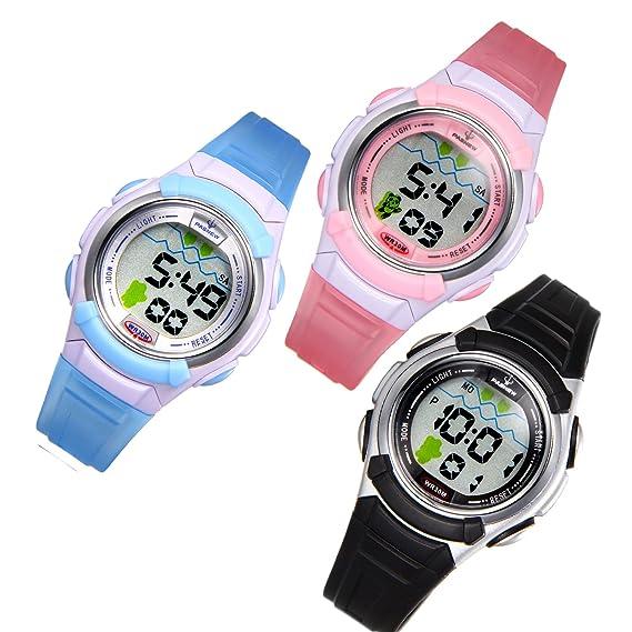 JewelryWe 3pcs Relojes de Pulsera para Niños Niñas Infantil, Reloj Digital Deportivo Dibujo Simpatico, Multifunciones de Colores Relojes para 5-12 Años de ...