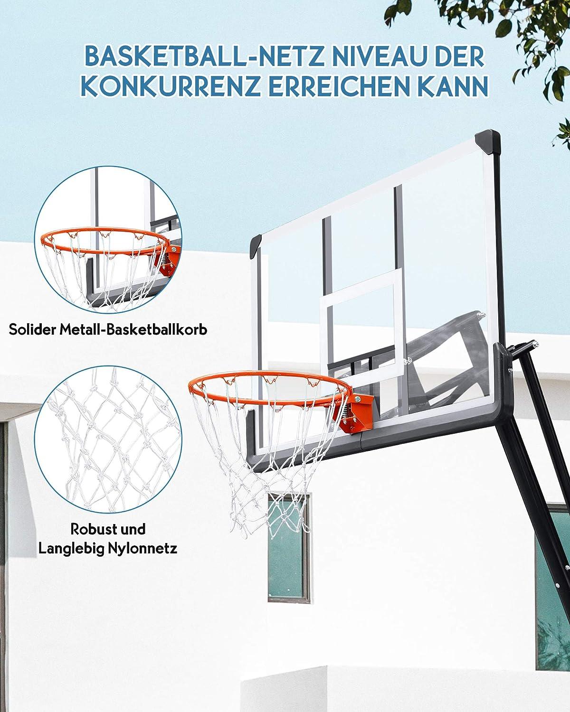 MaxKare Basketballkorb Basketballanlage Tragbarer H/öhenverstellbar Transportable Basketballst/änder mit R/ädern zum Kinder Erwachsene mit 137cm Basketball R/ückwand