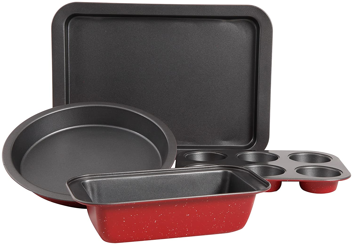 Sunbeam 104423.04 Confection Non-Stick 4 Piece Bakeware Set, Red