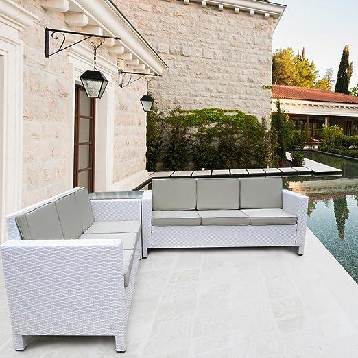 Salon de jardin en rotin blanc pour extérieur et véranda ...