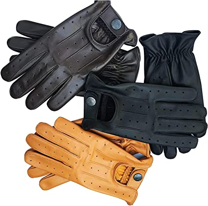 Leather VINTAGE TRADITIONAL ENGLISH DRIVING Driving Gloves Fastened Driving