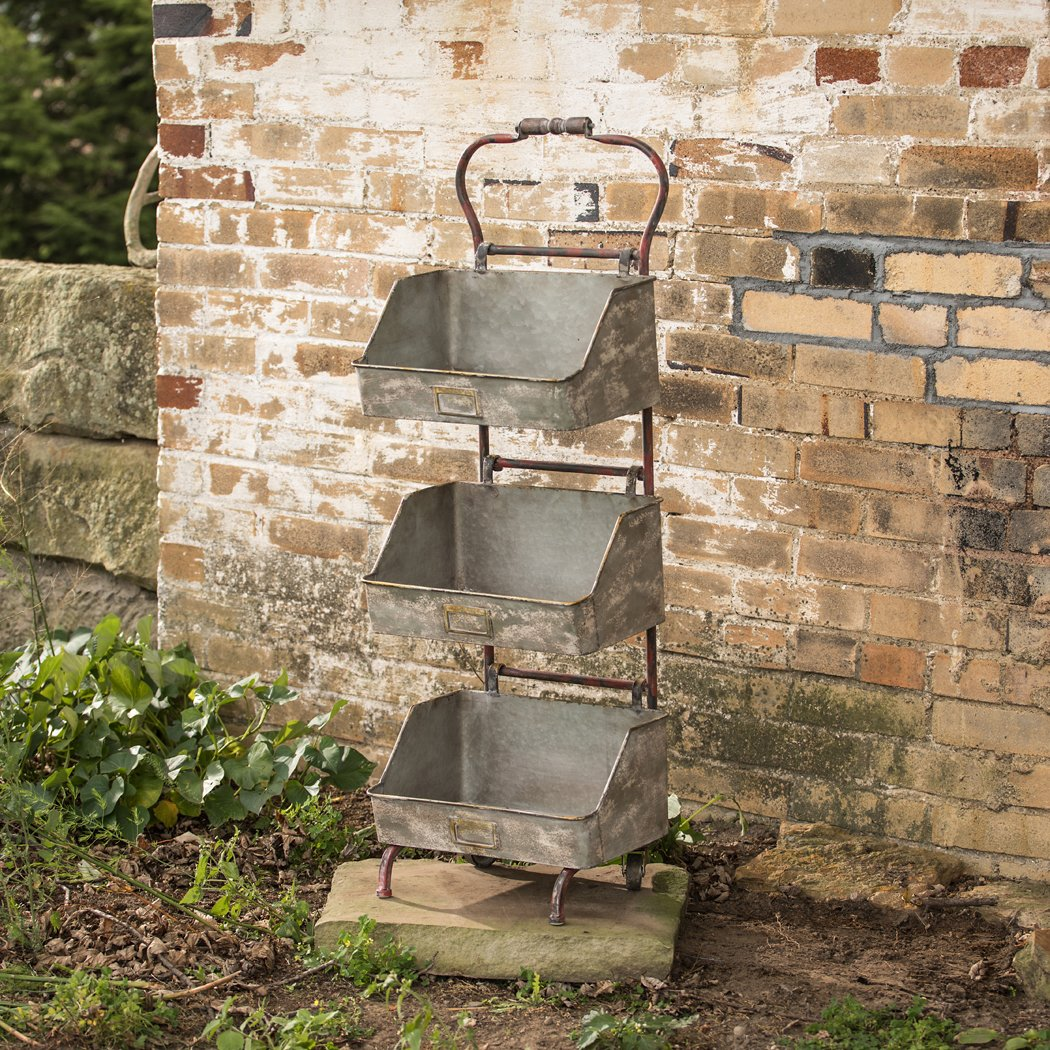 3 TIERED BIN STAND WITH HANDLE