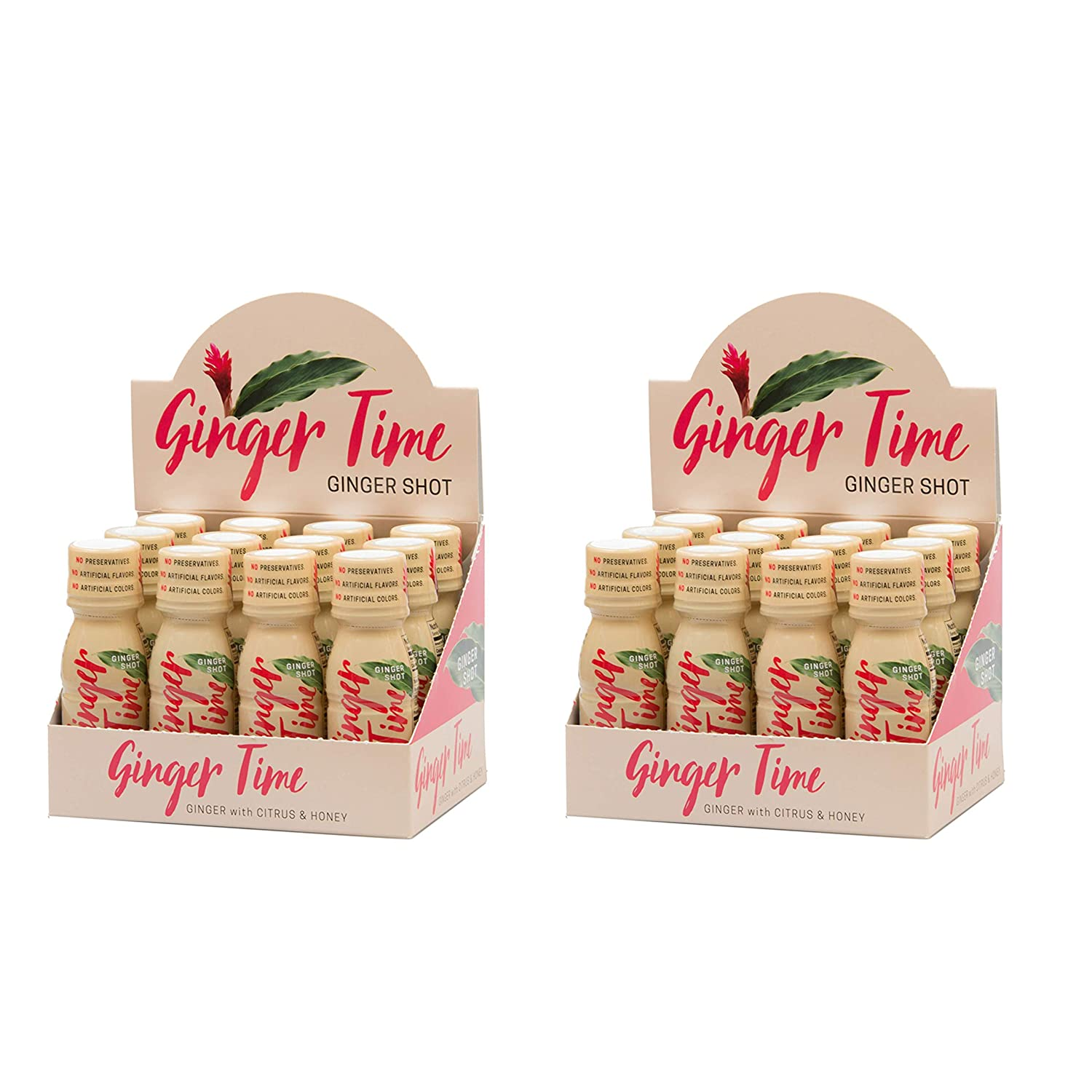 Ginger Time Ginger Shots – Ginger with Citrus Honey Non-GMO No Preservatives or Artificial Flavors Colors Sweeteners B Vitamins No Need for Refrigeration 24 Pack