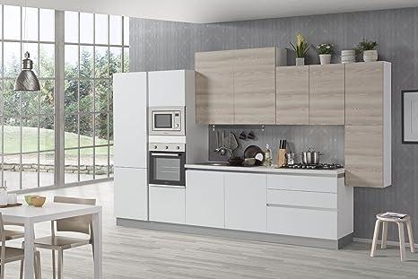 Nuovarredo Cucina Sweet bianco opaco e frassino crema: Amazon.it ...
