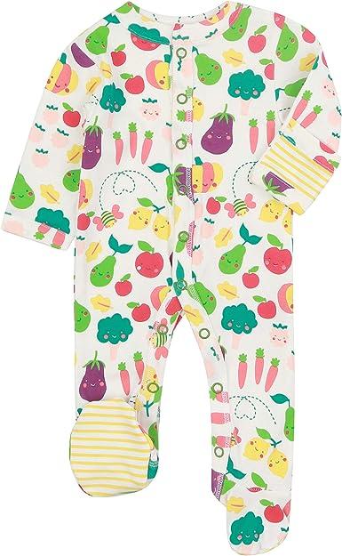 Piccalilly - Pijama para bebé con pies y manoplas para arañazos integradas, algodón orgánico suave, color blanco con estampado de frutas y verduras: Amazon.es: Ropa y accesorios