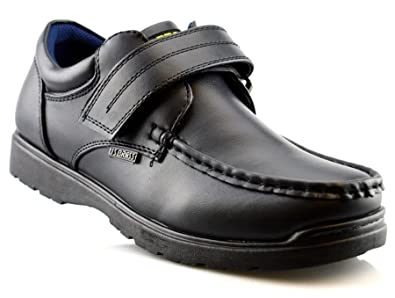 Us Brass Boys Hard Wearing Back To School Touch Fastening Black Formal Shoes Size 2 6