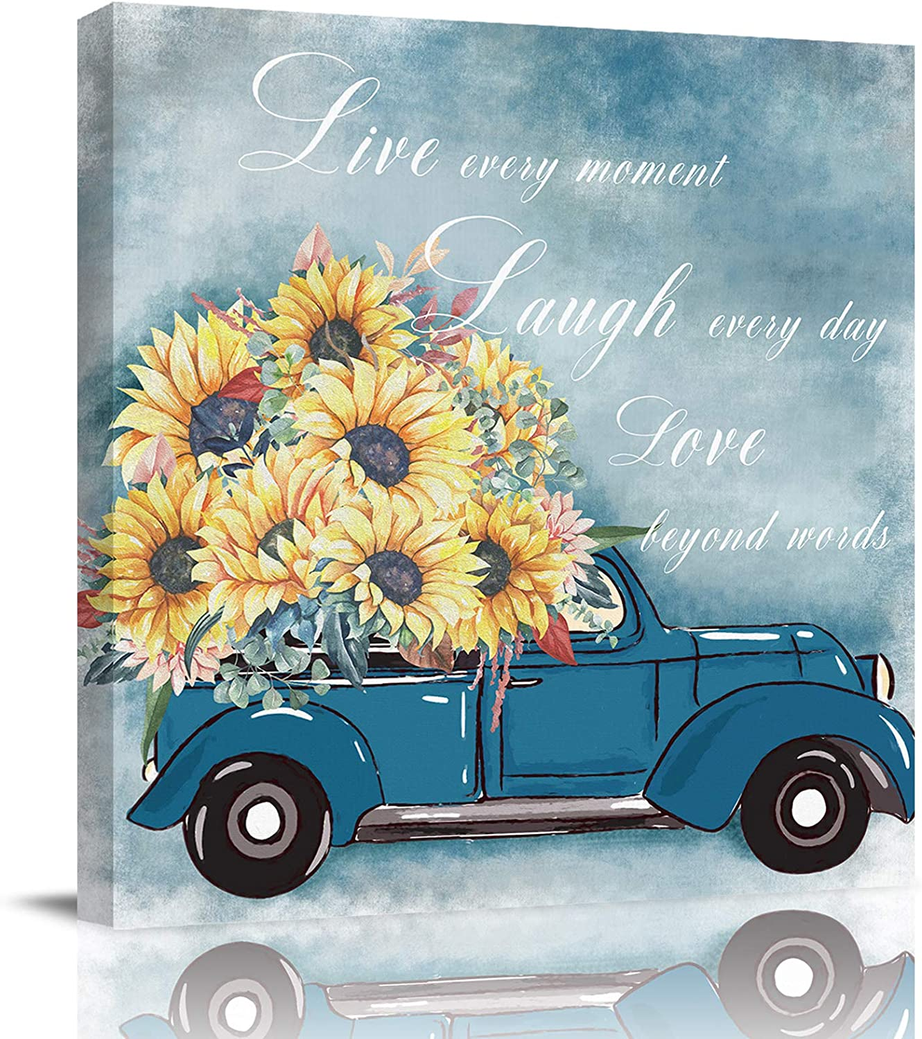 Bathroom Decor Canvas Wall Art, Blue Truck Carrying Sunflower Flowers Quotes Live Laugh Love Canvas Prints Gallery Artworks for Bedroom, Stretched and Framed Ready to Hang, 20x20 Inch Wall Decor
