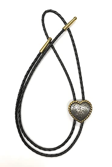 18813c6db2 Heart Bolo Tie, Silvertone, with Goldtone Rope Edge at Amazon ...