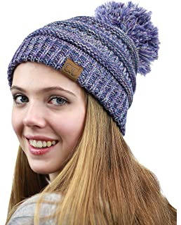 e54666589b3bc4 NYFASHION101 Unisex Multicolor Warm Cable Knit Slouch Pom Pom Beanie Cap
