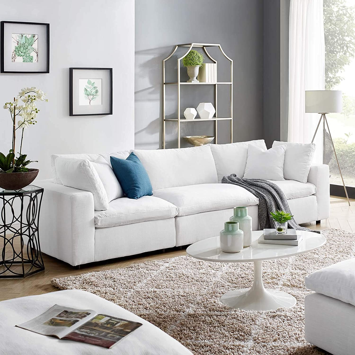 Modway Down Filled Overstuffed 3 Piece Sectional Sofa Set Fabric White Armless Two Corner Chairs Amazon Co Uk Kitchen Home