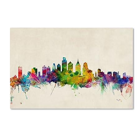 Philadelphia Pennsylvania Artwork by Michael Tompsett, 16 by 24-Inch Canvas Wall Art