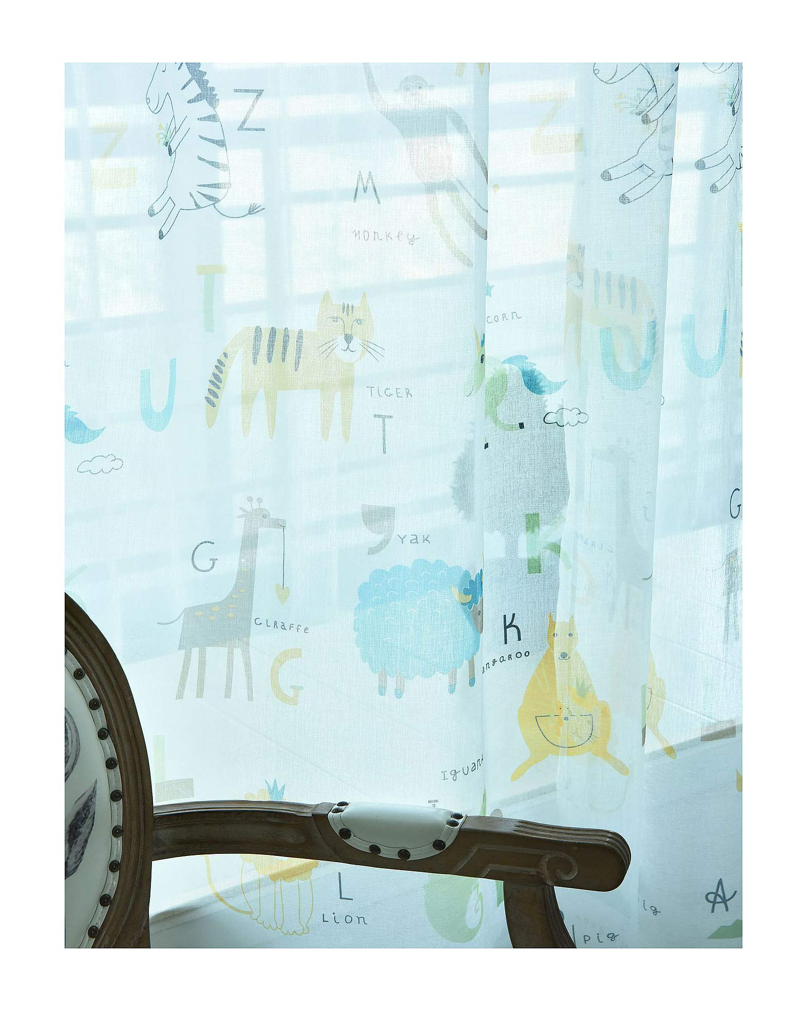 ASide BSide Cute Style Zoo Pattern Printed Rod Pocket Top Permeable Window Decoration Sheer Curtains For Sitting Room Bedroom and Child Room (1 Panel, W 52 x L 84 inch, Multicolored 2)