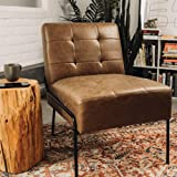 eLuxurySupply Armless Accent Chair - Upholstered Living Room Chair with Stain Resistant Fabric and Elegant Pintucking - Premi