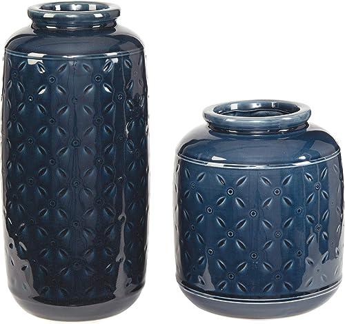 Ashley Furniture Signature Design – Marenda Vase Set – Navy Blue
