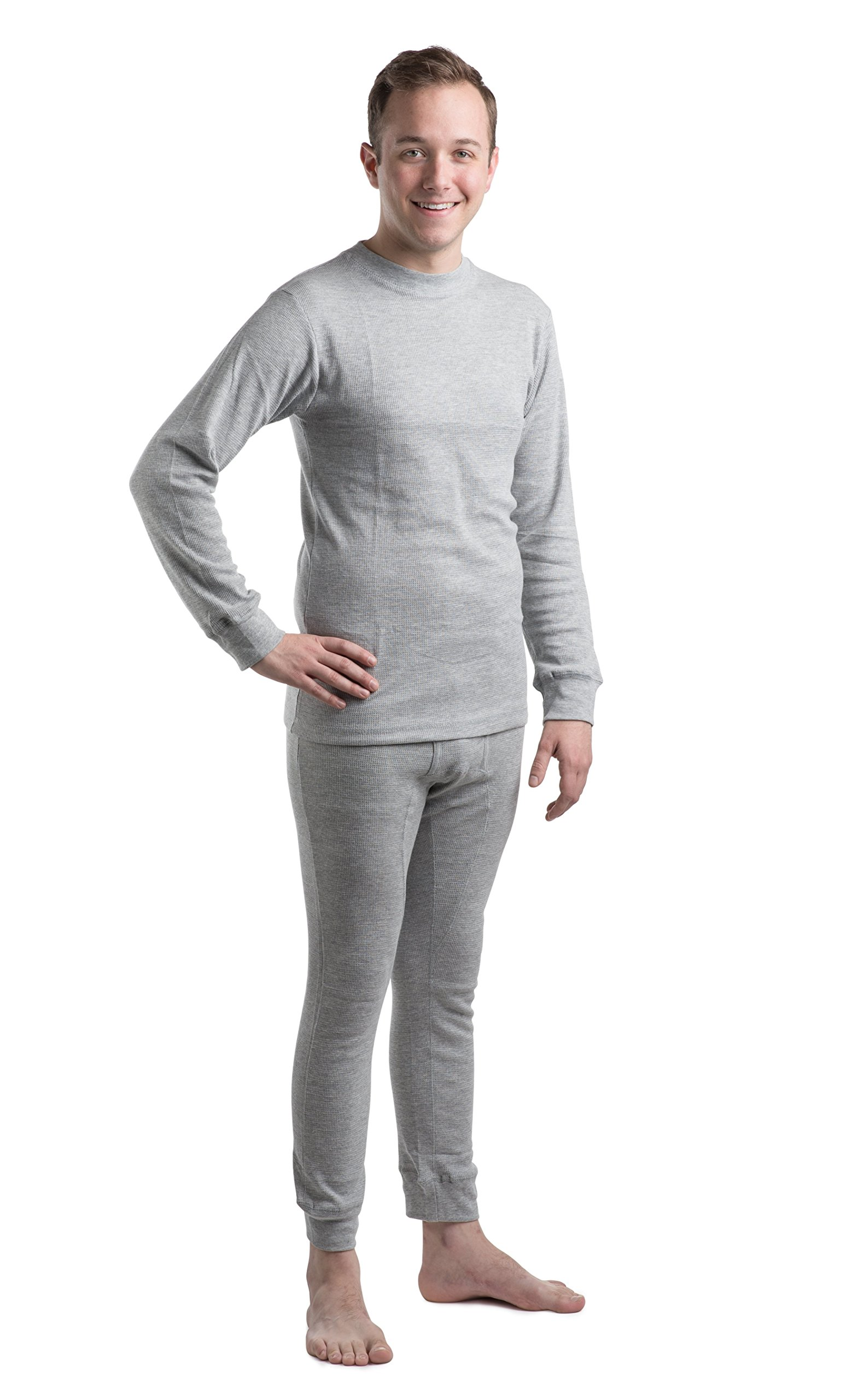 Beged Men's Thermal Long John Cotton Underwear Set – Long Sleeve Undershirt & Legging | Heat Retention, Made for Cold, Frozen Weather | Skinny Fitted Bed Time Pajamas 2XL Grey