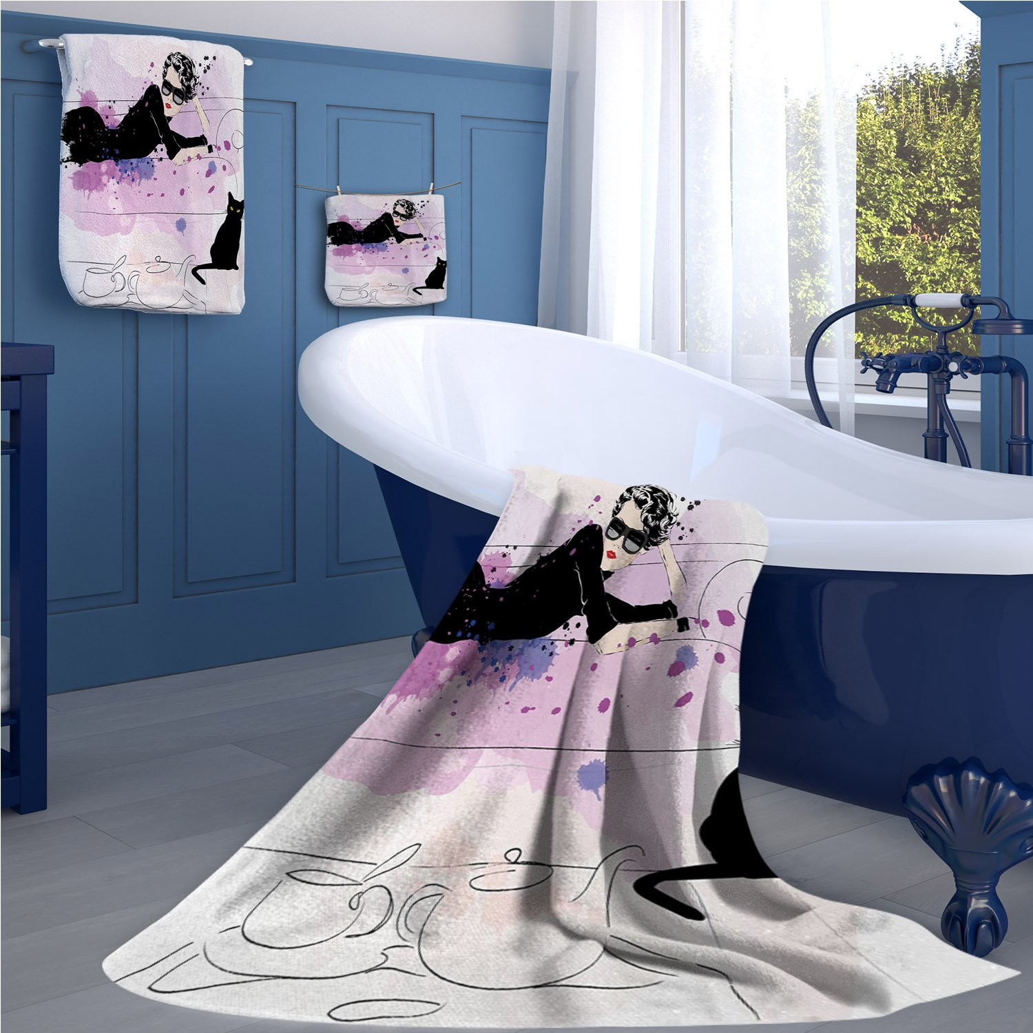 warmfamily Kitten Print towel set Girl with Sunglasses Lying on Couch Cat in Home Theme with Stains Animals cheap hand towels Black Lilac Lavender