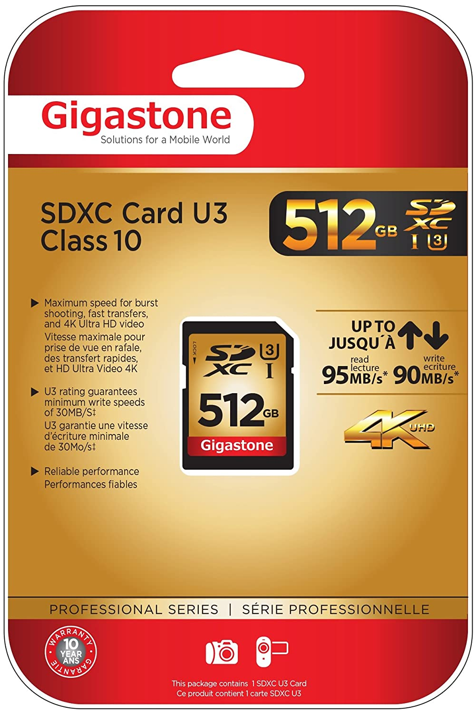 Tarjeta Gigastone superrápida SD HC 512GB de clase 10 (C10 ...