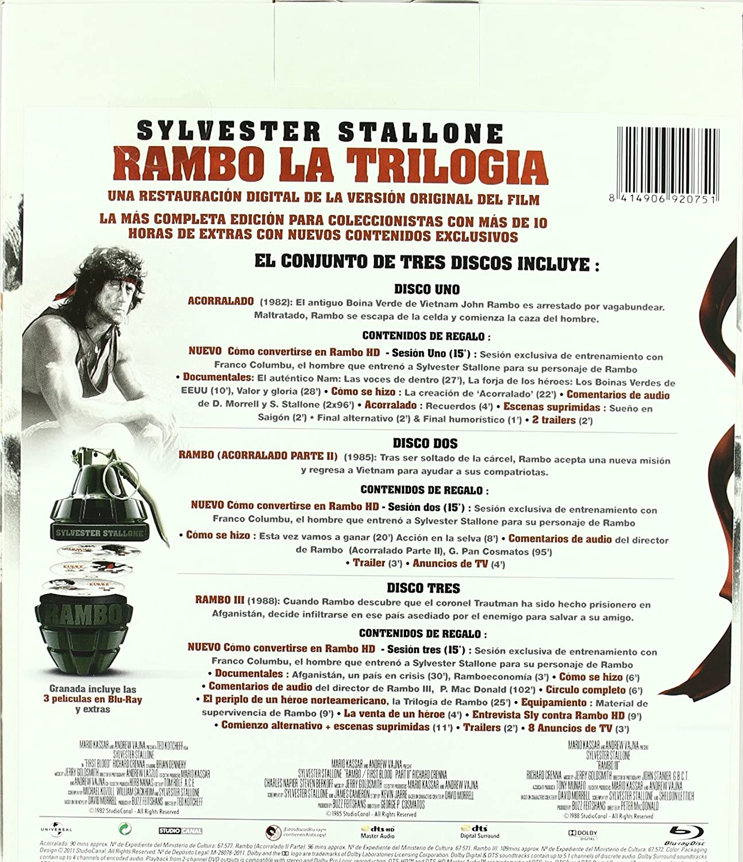 Rambo Trilogia Definitiva(Pack Granada) [Blu-ray]: Amazon.es: Sylvester Stallone, Richard Crenna, Brian Dennehy, Michael Talbot, Jack Starrett, Bill McKinney, Charles Napier, Steven Berkoff, Martin Kove, Andy Wood, Kurtwood Smith, Marc de Jonge, Spiros