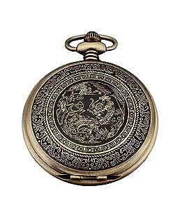 TOOGOO(R) Quartz Pocket Watch, Analog, Bronze Box, with Dragon series WPK062