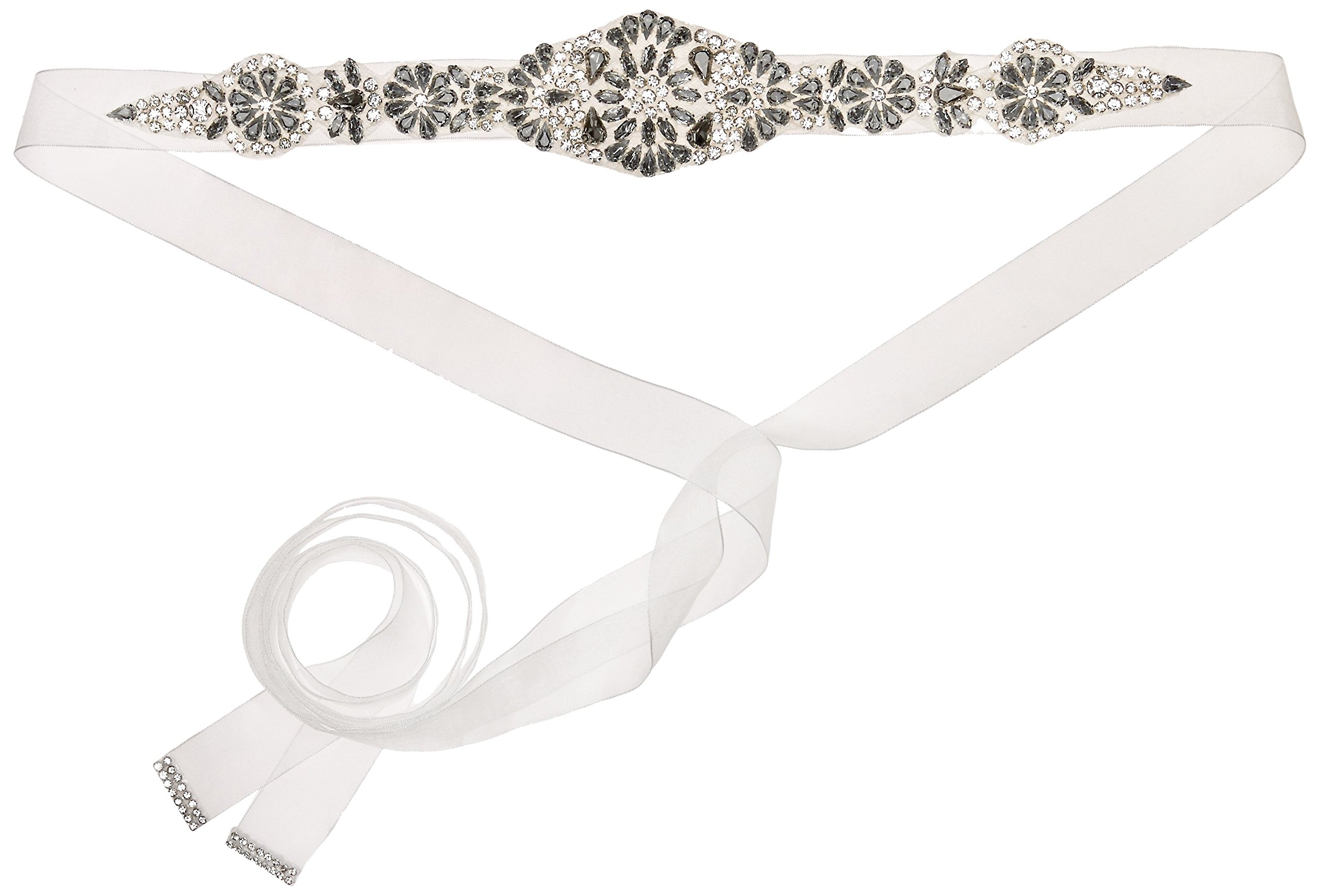 Nina Women's Aneesa Romantic Floral Embellished Organza Bridal Belt, Ivory, One Size