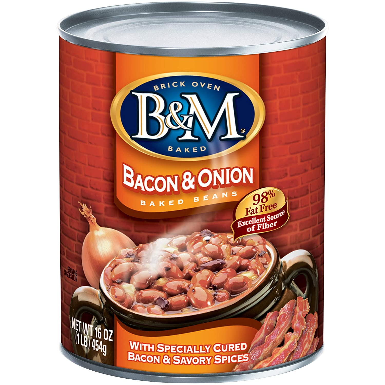 B&M Baked Beans, Bacon & Onion, 16 Ounce (Pack of 12)