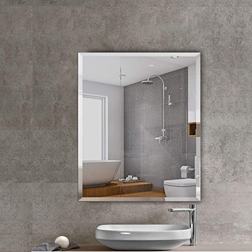 Beauty4U Rectangular Shatterproof Wall Mirrors -30 x36 Frameless Vanity Make Up Mirror with 1-inch Bevel for Bathroom, Bedroom, Wall D cor