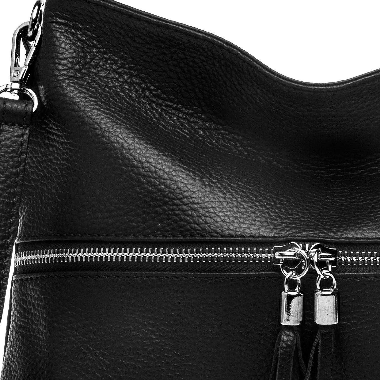 Caspar TL784 klassisk elegant dam läder axelväska svart