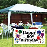 VictoryStore Yard Sign Outdoor Lawn Decorations: Happy 80th Birthday 2'X4' Vinyl Banner