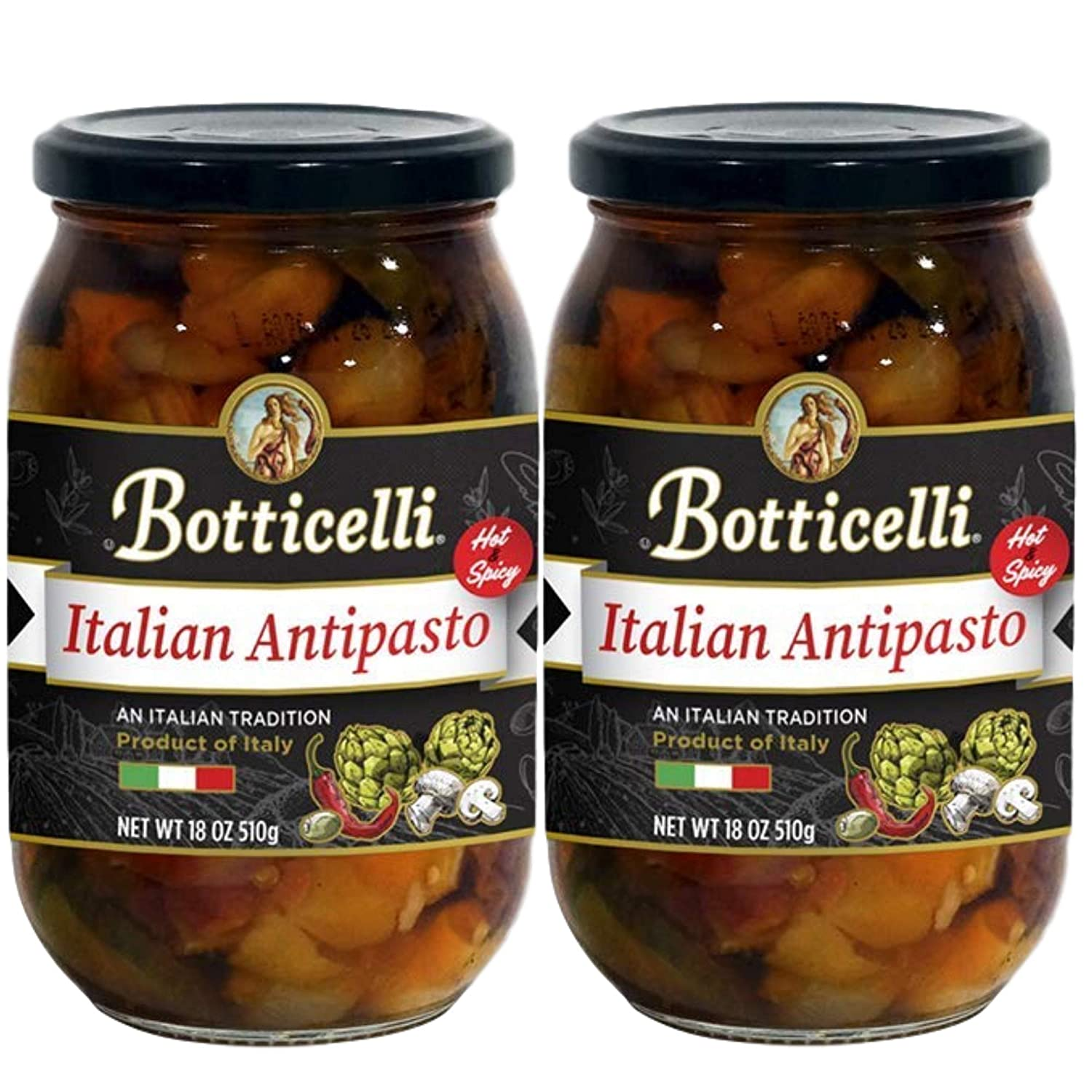 Hot Antipasto by Botticelli, 18oz Jars (Pack of 2) - Premium Spicy Italian Appetizer - Gluten-Free - Olives, Artichokes, Mushrooms, Red Hot Peppers, and Olive Oil
