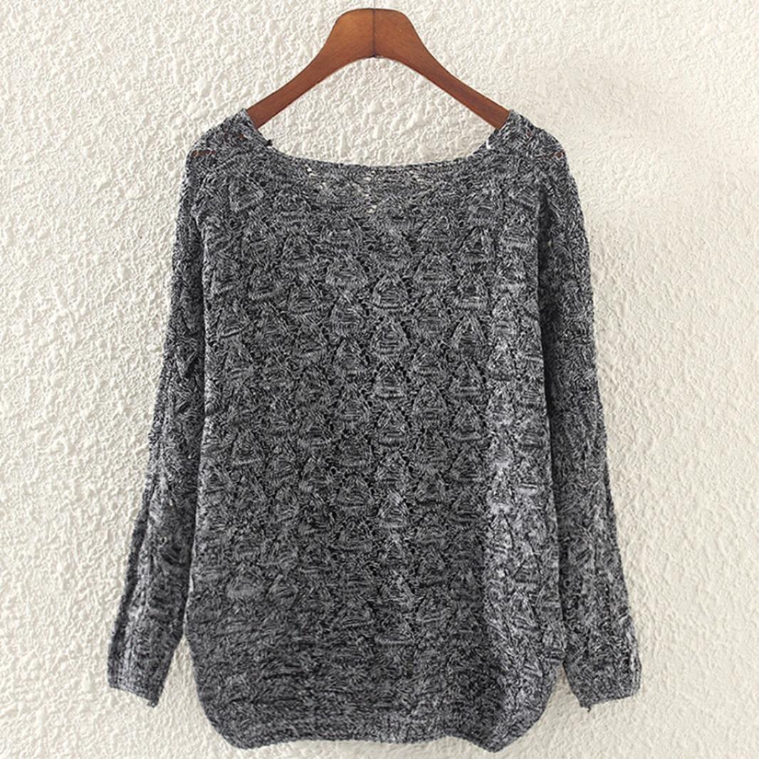 Sannysis Damen Sweater Elegant Langarm Oversize Sweatshirt Strickpullover Bat Ärmel Pullover (Dunkelgrau)
