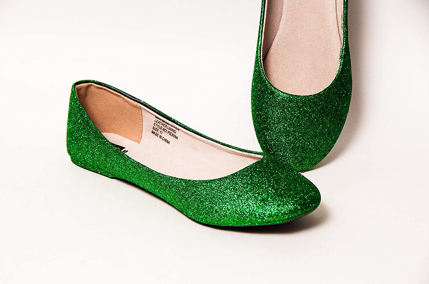Womens Hand Glittered Kelly Green Glitter Ballet Flats Slip On Shoes by Princess Pumps