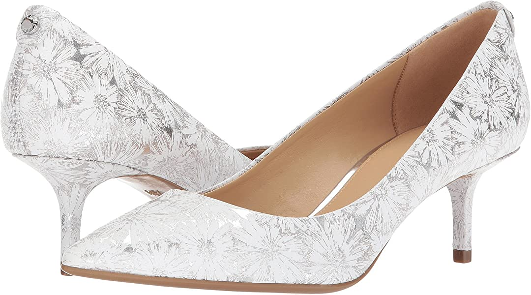 Michael Michael Kors MK Flex Kitten Heel Pumps Metallic Leather  White Silver (6)