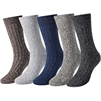 5 Pack Mens Soft Warm Thick Knit Wool Cozy Crew Socks Vintage Fall Winter