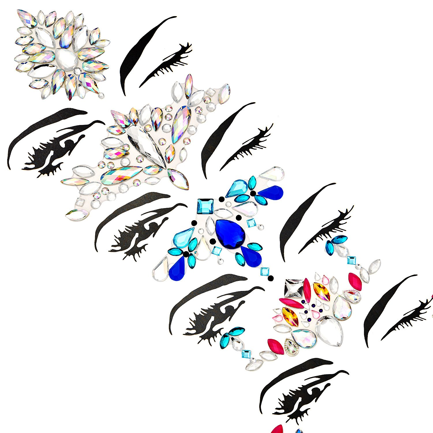 TOODOO 8 Sets Face Gems Rhinestone Colorful Sticker Tattoo Jewelry Stick on Face Festival Jewels for Forehead Body Decorations (Style 1) by TOODOO (Image #4)