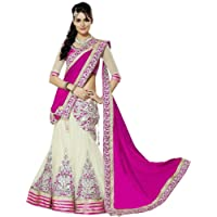 Happy Creation Women's Georgette Lehenga Choli, Free Size (Pink and Off White)