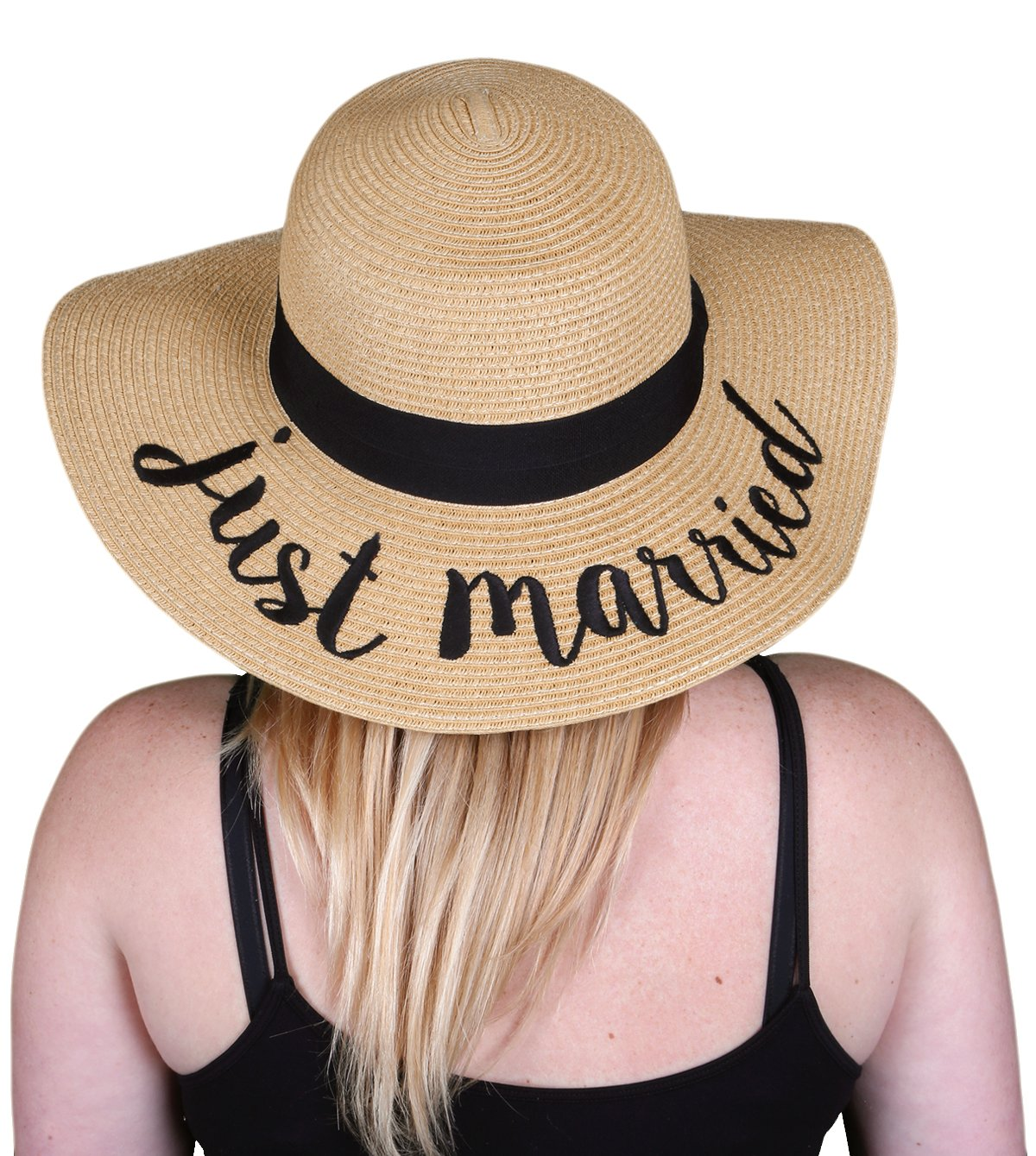 H-2017-JM Embroidered Bridal Sun Hat - Just Married by Funky Junque