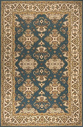Momeni Rugs Persian Garden Collection, 100 New Zealand Wool Traditional Area Rug, 3 x 5 , Teal Blue