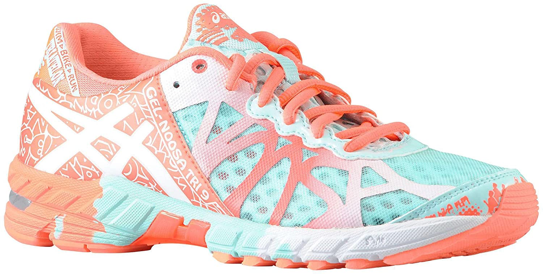 ASICS Women's GEL Noosa Tri 9 Running Shoe (6 B(M) US, GlacierWhiteHot Coral)