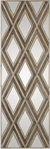 MY SWANKY HOME Extra Large 72 Harlequin Check Mirrored Wall Art Tall Leaner Argyle