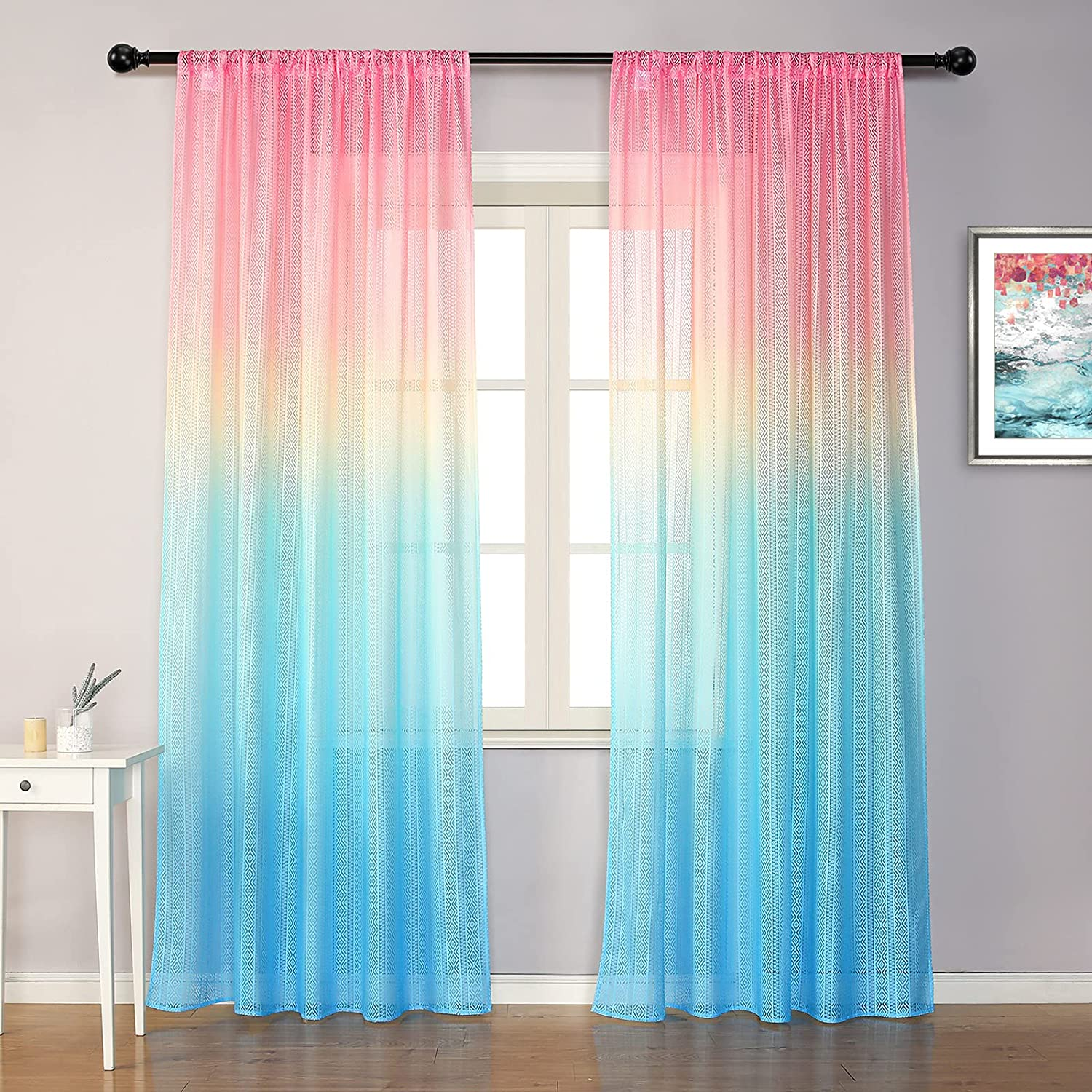 MYSKY HOME Rainbow Curtains for Girls Bedroom Pink Sheer Curtains 95 Inches Long Blue Ombre Curtains Rod Pocket 2 Panels (Pink Blue, 52