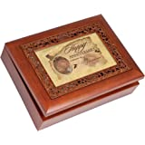 Cottage Garden Music Box - Happy Anniversary Plays Unchained Melody With Ornate Woodgrain Finish