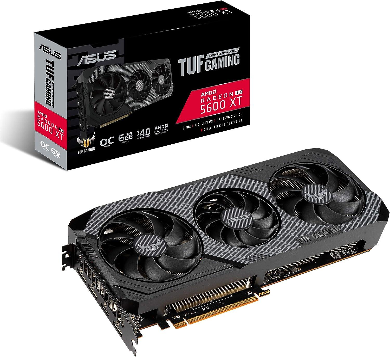 ASUS TUF Gaming 3 AMD Radeon RX 5600XT OC Edition Gaming Graphics Card (PCIEe 4.0, 6GB, GDDR6, HDMI, DisplayPort, 1080p Gaming, Axial-tech Fan Design, 2.7-Slot Design (TUF-3-RX5600XT-O6G-EVO-GAMING)