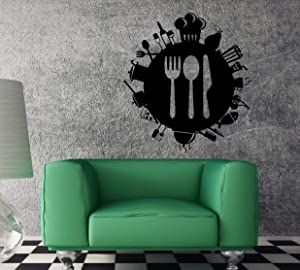 Wall Vinyl Decal Silverware Kitchen Fork Knife Wine Unique Wall Decor and Stick Wall Decals