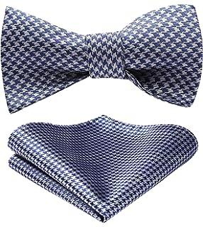HISDERN Mens Stripe Check Jacquard Woven Wedding Party Self Bow Tie Set
