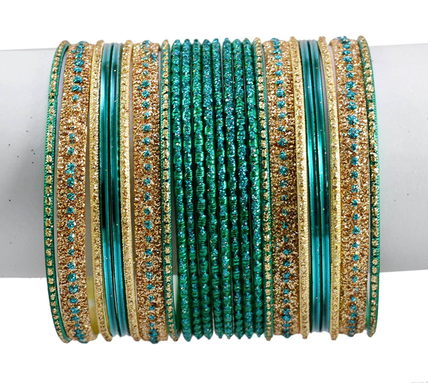 Turquoise Color Indian Bollywood Fashion Party Wear Kundan Style Bangles Chudi