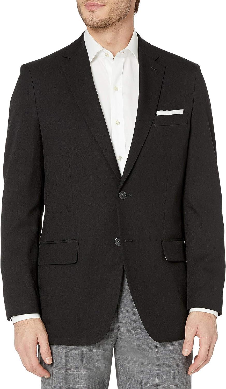 Haggar Men's in Motion Travel Stretch Tailored Fit Blazer, Black, 48R