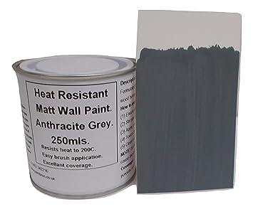 1 x 250 ml mate antracita/gris oscuro pintura de pared resistente al calor.