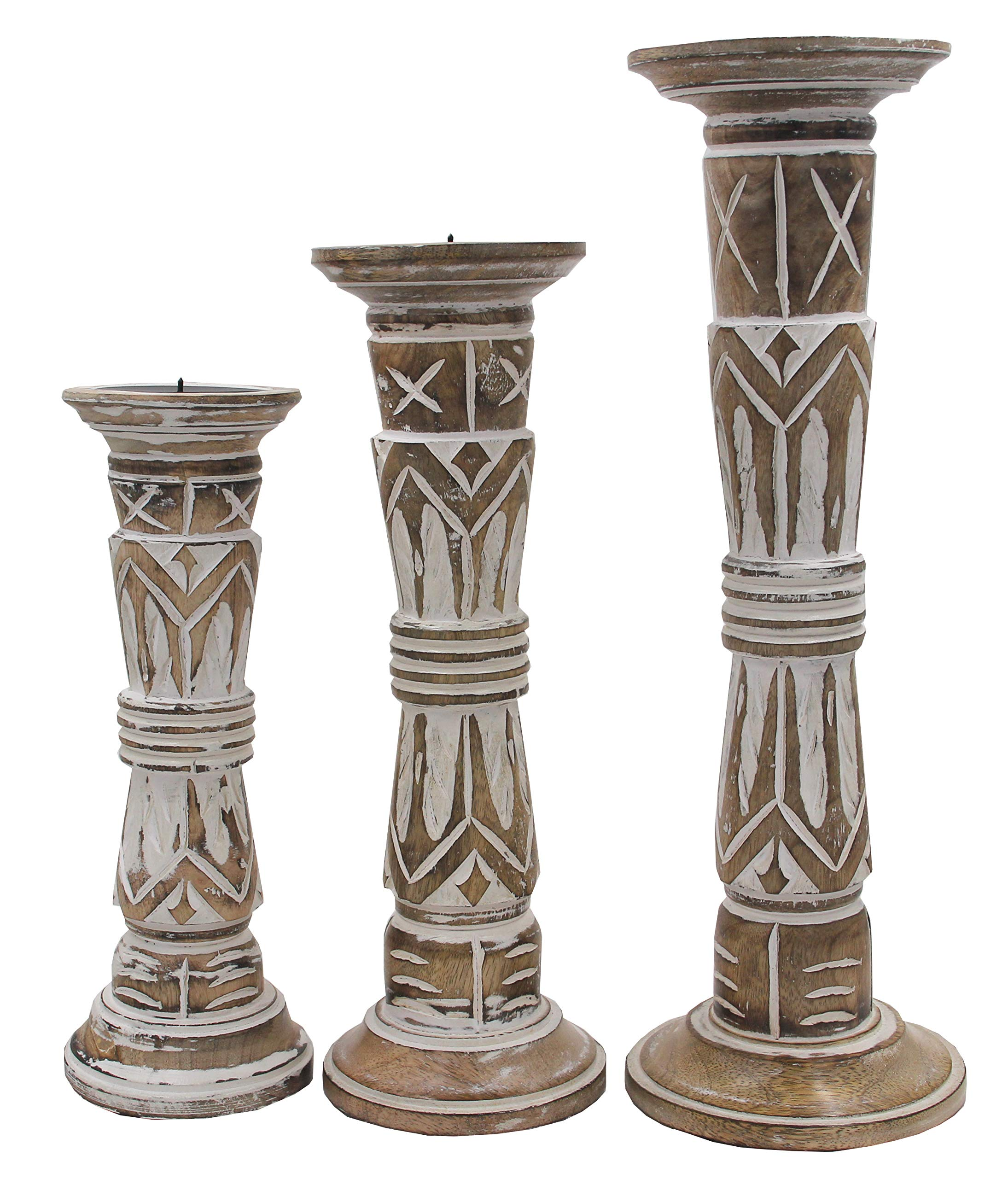Dharmaobjects Set of 3 Wooden Candle Holders - Height 17'', 14'', 12'' (White)