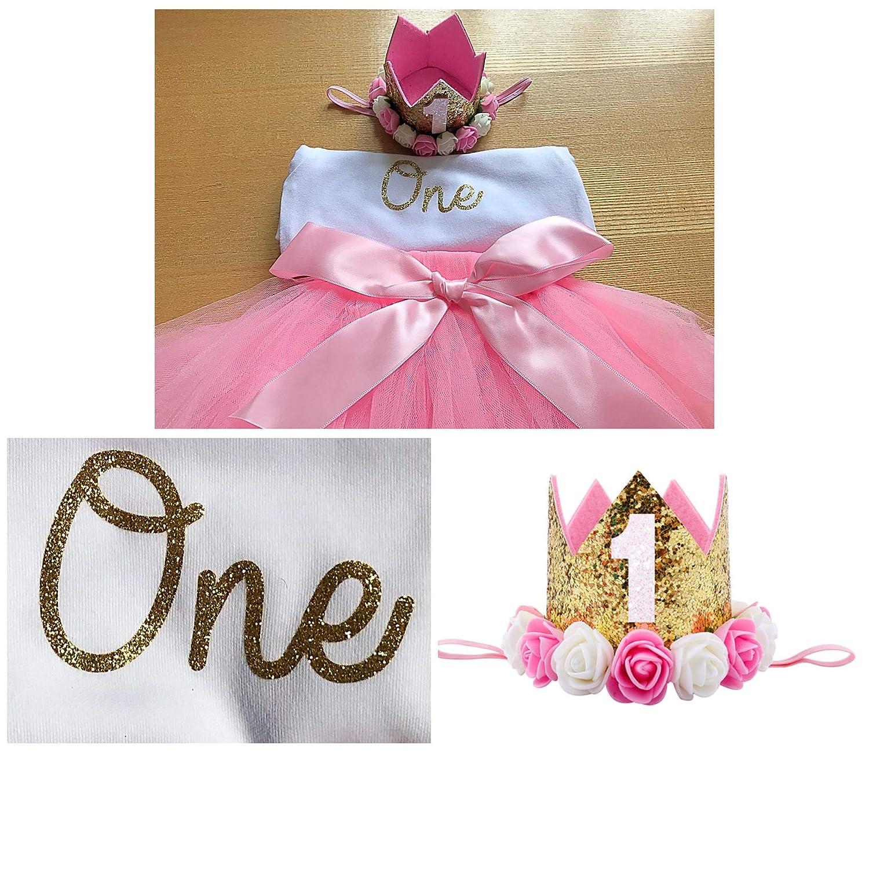 Princess Baby Girls Luxury 1st First BirthdayTutu Outfit & Crown Headband Cake Smash Set