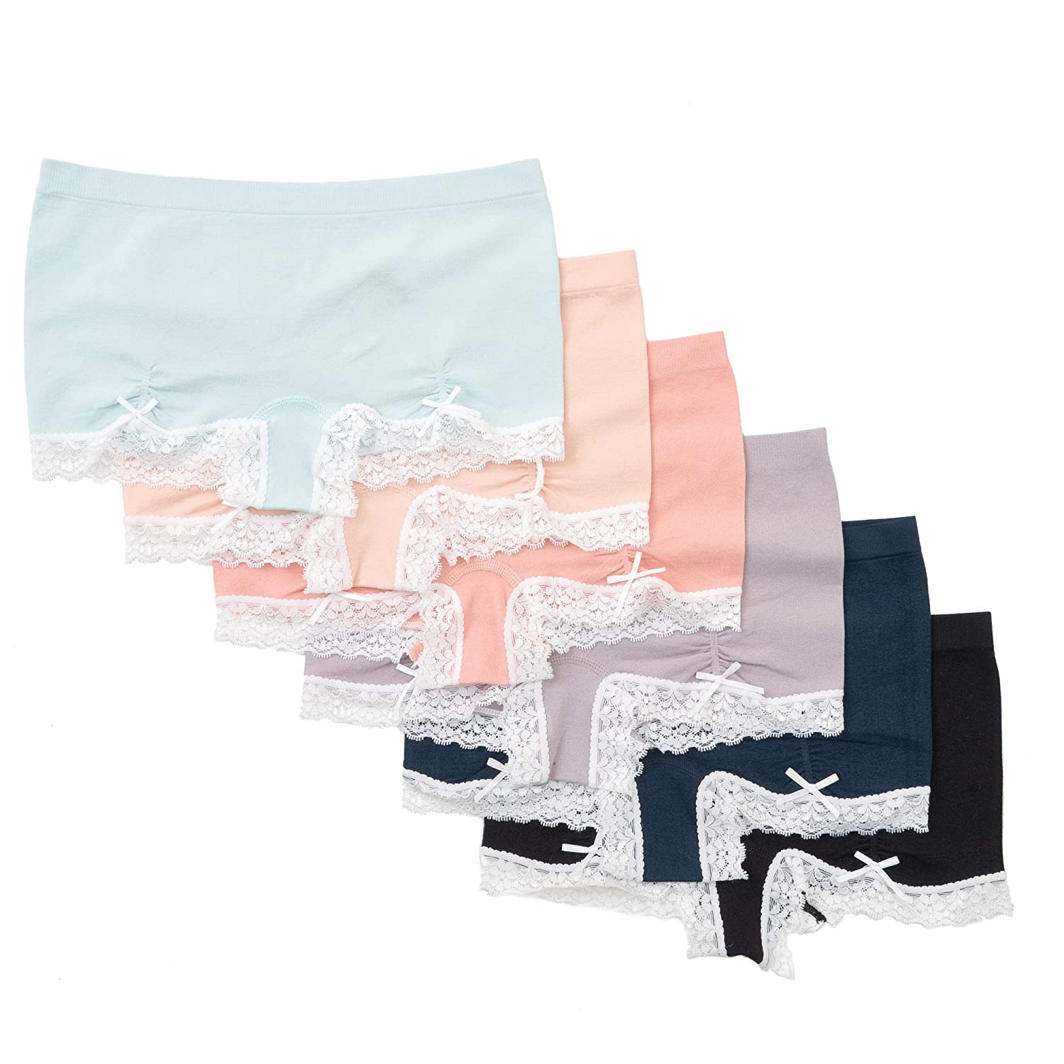 Pack of 6 Alyce Intimates Seamless Womens Boyshort with Lace Trim and Ruching Detail